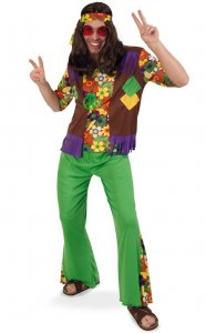 Hippie Boy zweiteiliges Hippiekostüm Flower-Power-Outfit Hippie-Stinband