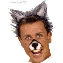 Wolfsohren Plüsch grau Ohren Wolf auf Haarreif Universalgröße Kostüm Zubehör
