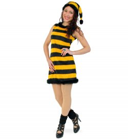 "Damenkostüm ""Honey"", Kleid mit Mütze, Fasching, Karneval, Mottoparty"