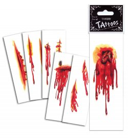 Halloween Wunden-Tattoos, sortierte Motive, Halloween, Karneval, Mottoparty
