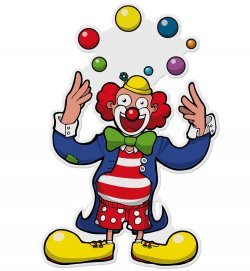 Wandbild Clown Jongleur, Höhe ca. 75 cm, Wand-Deko, Karneval, Party, Dekoration