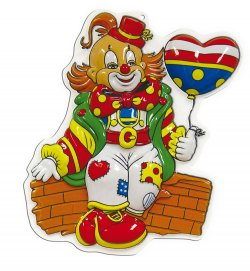 Wandbild Mini-Clown, Höhe ca. 40 cm, Wand-Deko, Karneval, Party, Dekoration