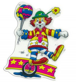 Wandbild Clown mit Einrad, Höhe ca. 40 cm, Wand-Deko, Karneval, Party, Dekoration