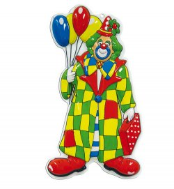 Wandbild Clown mit Ballons, Höhe ca. 60 cm, Wand-Deko, Karneval, Party, Dekoration