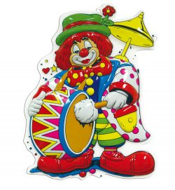 Wandbild Clown mit Trommel, Höhe ca. 60 cm, Wand-Deko, Karneval, Party, Dekoration