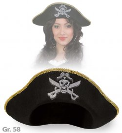 Piratenhut, Halloween, Karneval, Mottoparty, Piratenaccessoire, Größe 58 cm