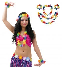 Hawaii-Set, 4-tlg., Mottoparty, Karneval, Strand, Urlaub, Party