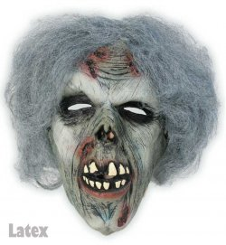 Zombie mit Haaren, 3/4 Maske, Latex, Halloween, Karneval, Mottoparty, Horror