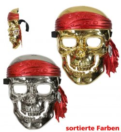 Piratenmaske, sortierte Farben, Halloween, Karneval, Mottoparty, Pirat
