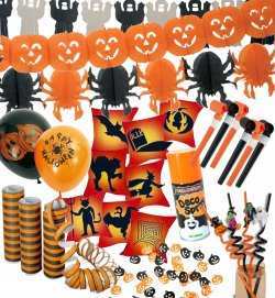Halloween Deko-Set 10-teilig Dekoration in schwarz-orange