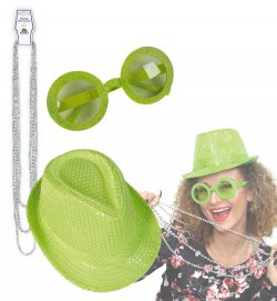 Party-Set 3tlg. Hut, Brille, Kette Glitzer, Pailletten neon grün