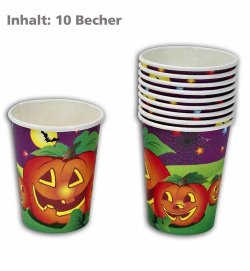 Halloween-Becher (10er Pack), Pappbecher/ Einwegbecher, Tischdekoration, Halloween Gedeck